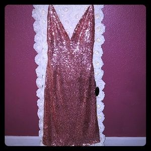 Rose Gold Sequin Cocktail Party Prom Dress